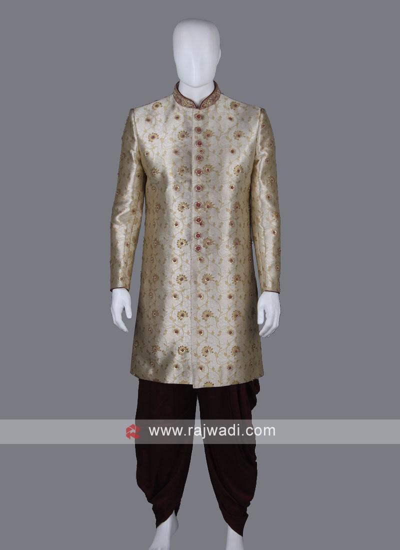 Embroidery Cream Color Sherwani