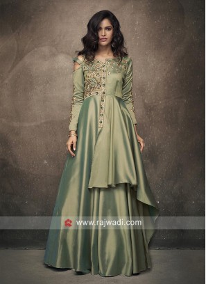 Layered Designer Gown with Embroidery