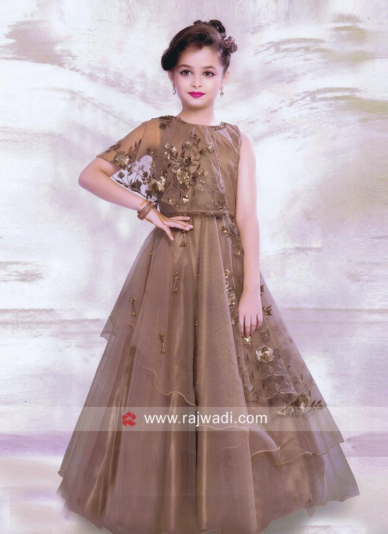 Embroidery Layered Gown for Kids