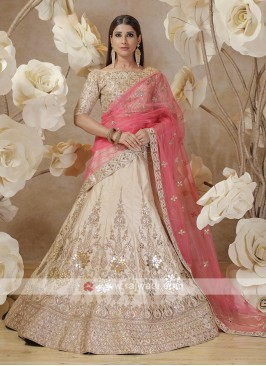 embroidery lehenga choli in cream color