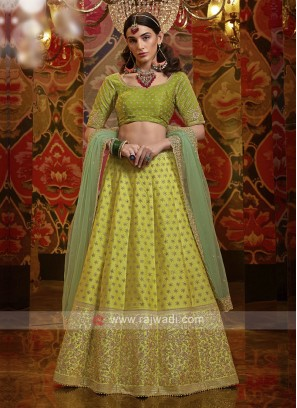 Embroidery Lehenga Choli In Green