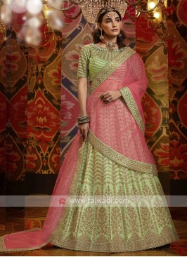 Embroidery Lehenga Choli In Pista Green