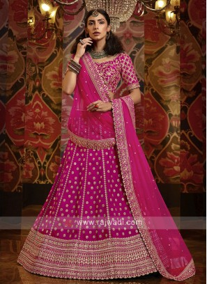 Embroidery Lehenga Choli In Rani