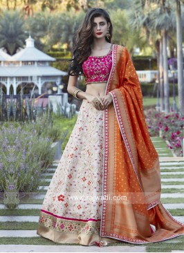 Embroidery Lehenga Set with Banarasi Dupatta