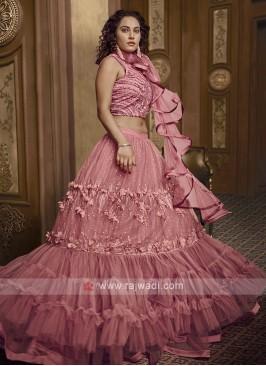 Embroidery Net Lehenga Choli In Pink