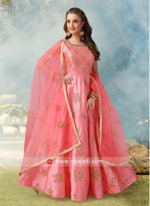Embroidery Patch Work Anarkali Dress in Pink