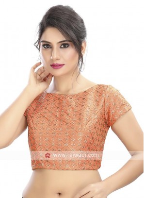 Embroidery Peach Color Ready Blouse