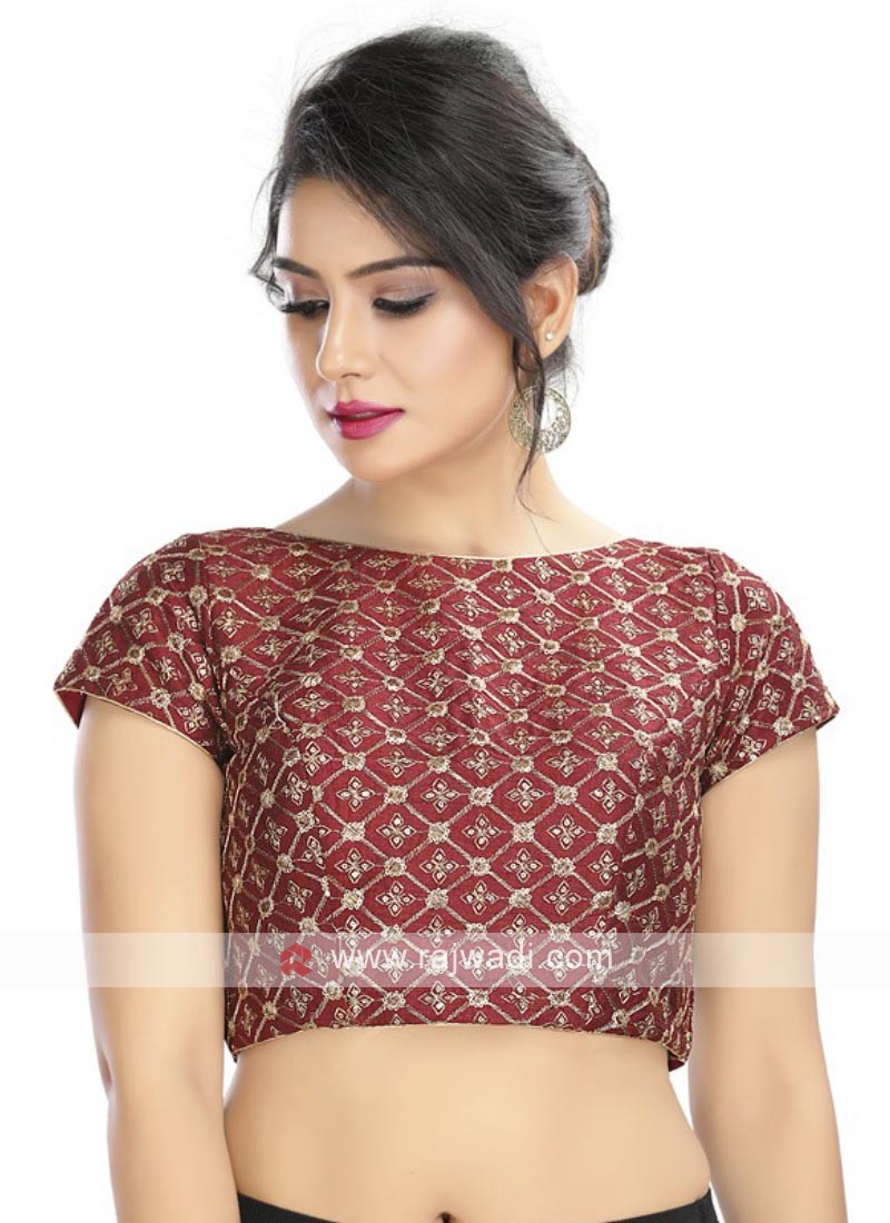 Embroidery Ready Blouse In Maroon