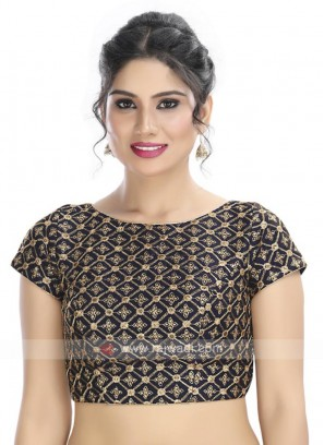 Embroidery Ready Blouse In Navy