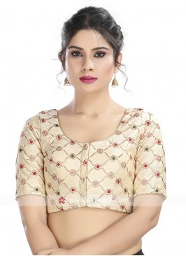 Embroidery Ready Blouse In Off-White
