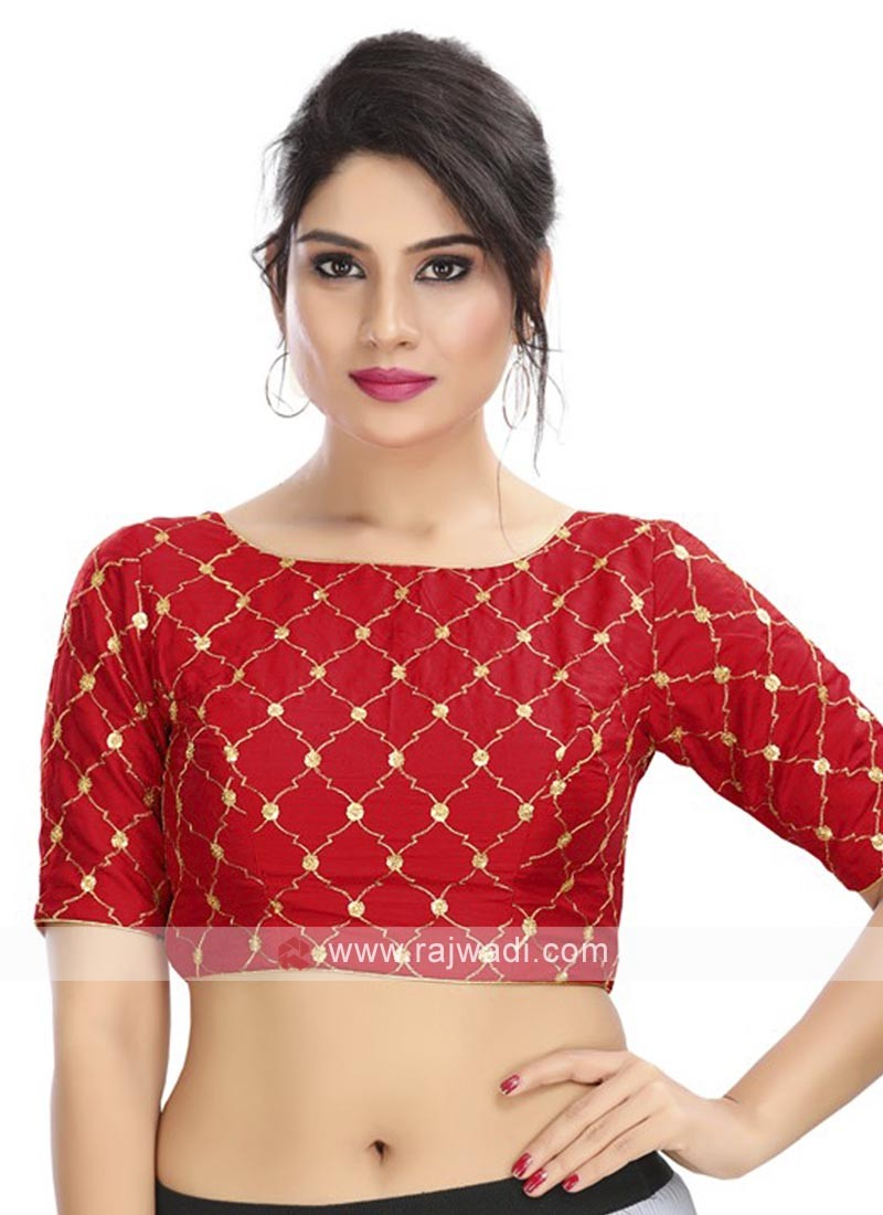Embroidery Red Ready Blouse