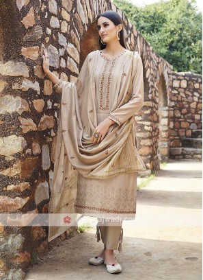 Embroidery Suit In Beige Colour