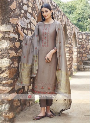 Embroidery Suit In Brown Colour