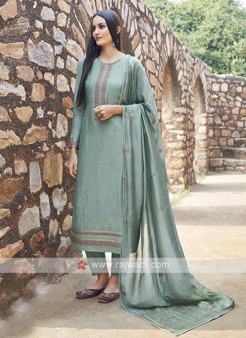 Embroidery Suit In Green Colour