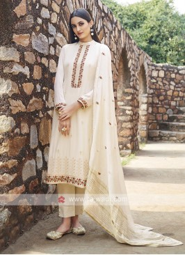 Embroidery Suit In Off-White Colour