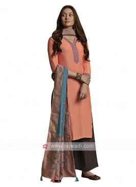 Embroidery suit in peach color