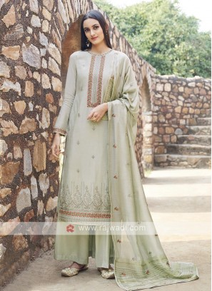 Embroidery Suit In Pista Green Colour