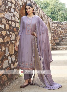 Embroidery Suit In Purple Colour