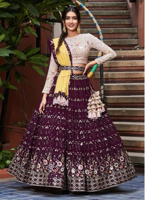 Embroidery Work Choli Suit In Wine And Peach Color
