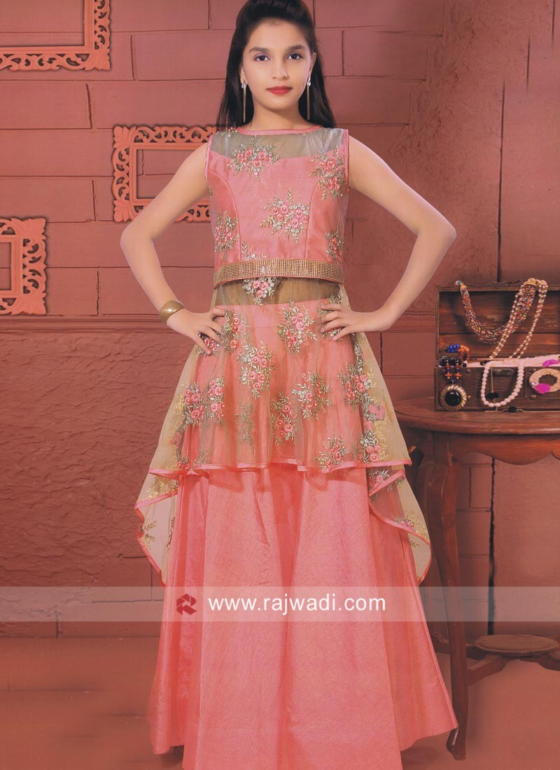 Emroidered Choli Suit in Peach