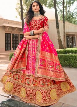 Epitome Resham Pink Banarasi Silk A Line Lehenga Choli
