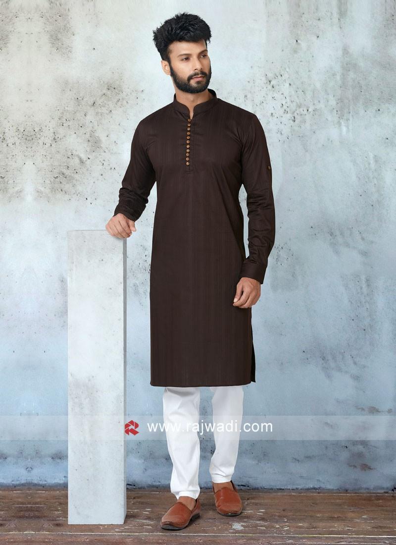 Ethnic Brown Color Kurta Pajama Set