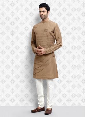 Ethnic Light Brown Color Kurta Pajama