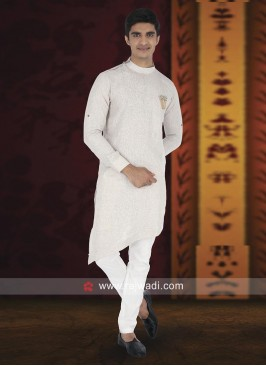 Ethnic Cream Pathani Suit