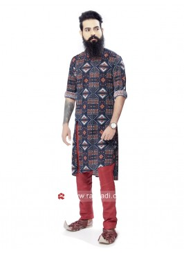 Ethnic Blue Printed Pathani Suit