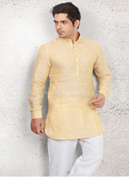 Ethnic Light Yellow Pathani Suit