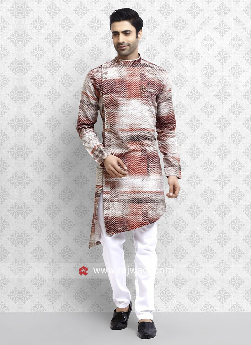 Ethnic Maroon And White Pathani Suit