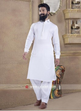 Ethnic Party Wear White Pathani Suit