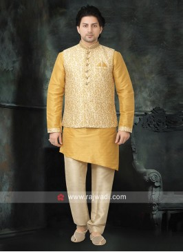 Ethnic Yellow and Cream Nehru Jacket