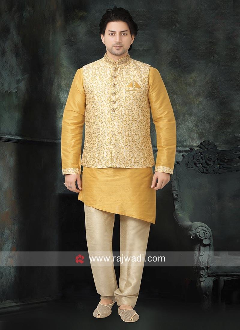 Ethnic Yellow and Cream Nehru Jacket