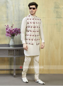 Ethnic Cream Nehru Jacket