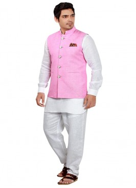 Ethnic Pink and White Nehru Jacket