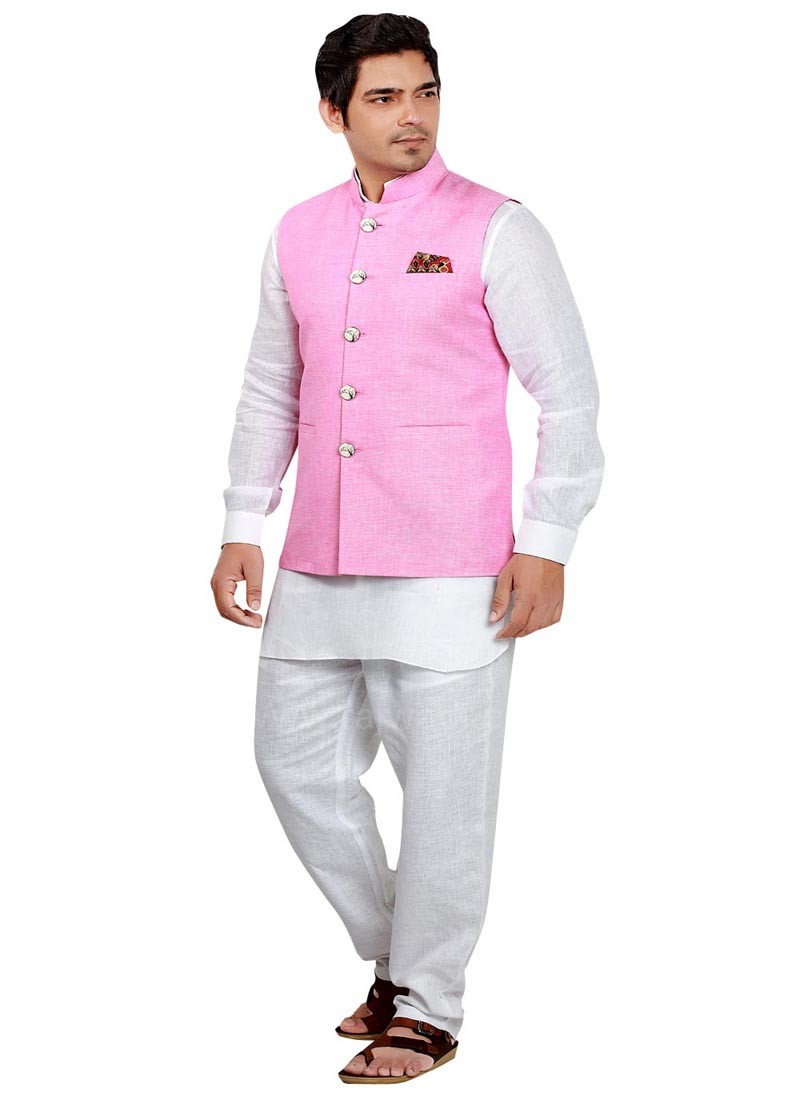 Ethnic Pink and White Nehru Jacket