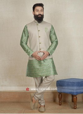 Ethnic Pista Green and Cream Nehru Jacket