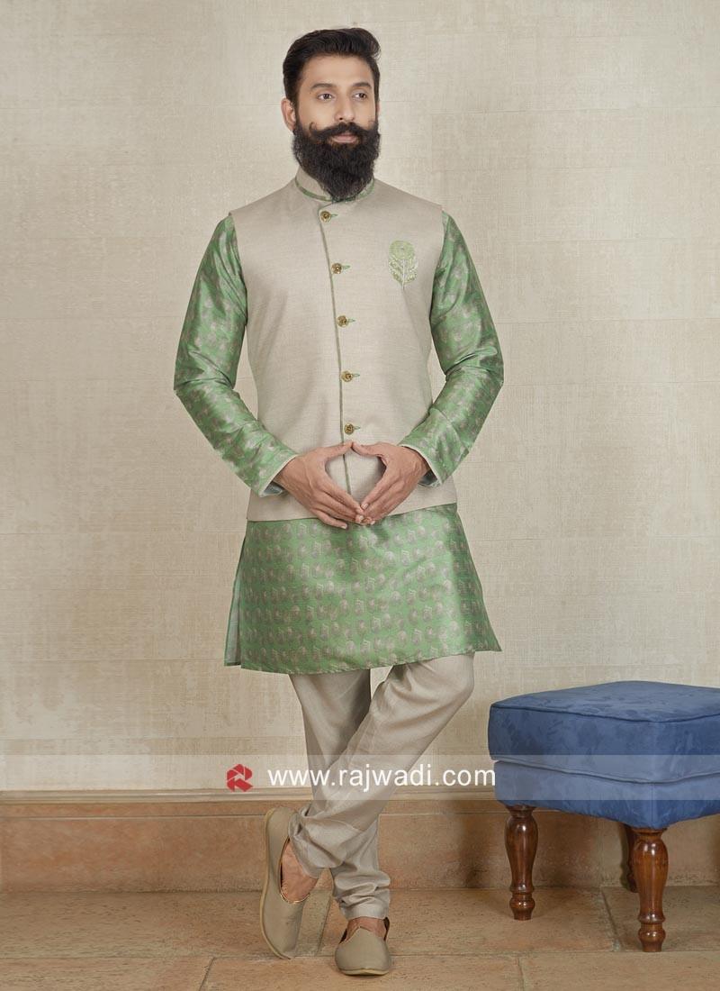 Ethnic Pista Green and Cream Nehru Jacket