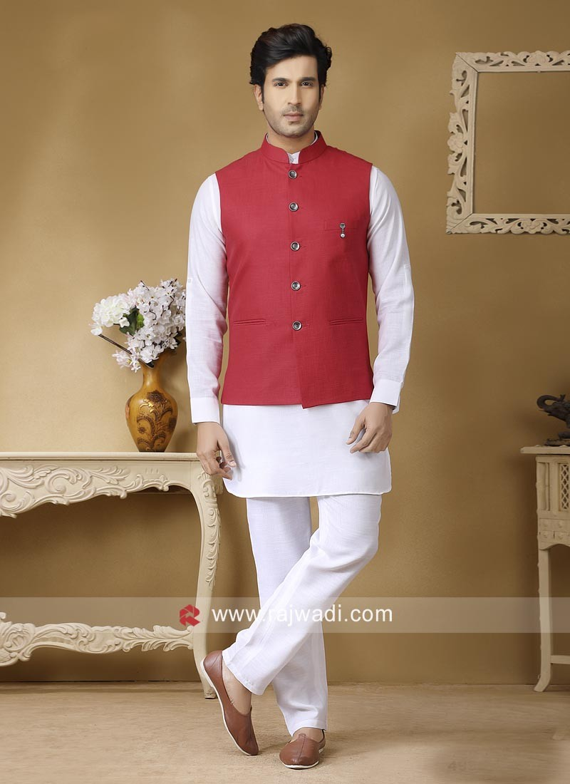 Ethnic Red and White Nehru Jacket