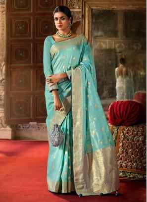 Ethnic Style Sky Blue Color Art Raw Silk Saree