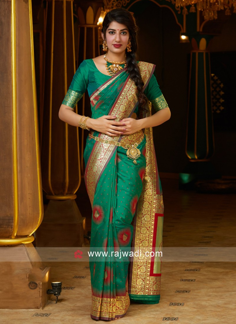 Ethnic Weaving Silk Green Contemporary Saree