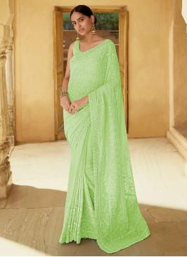 Exceeding Georgette Sequins Green Trendy Saree