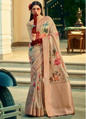 Exceeding Weaving Beige Silk Classic Designer Saree