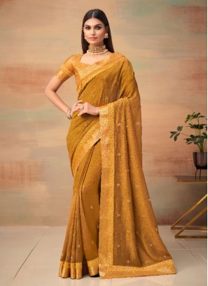 Exceeding Woven Mustard Vichitra Silk Traditional Saree