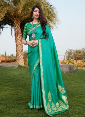 Excellent Sea Green Traditional Designer Saree