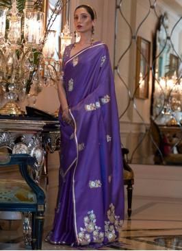 Exceptional Weaving Purple Satin Classic Saree