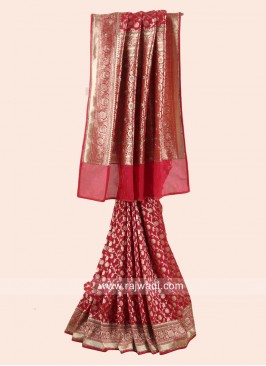 Exclusive Banarasi Silk Sari in Red
