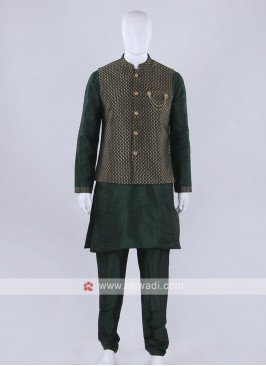 Exclusive broacde silk green nehru jacket