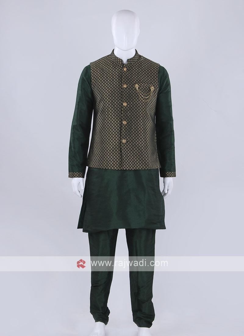 Exclusive broacde silk green nehru jacket